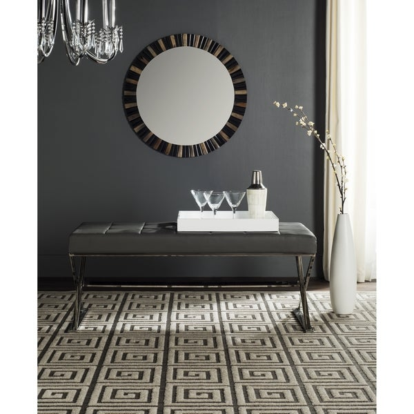 Shop Safavieh Modern Glam Micha Tufted Grey Bench On