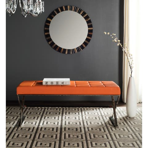 "Safavieh Modern Glam Micha Tufted Orange Bench - 43.2"" x 18"" x 18.1"""