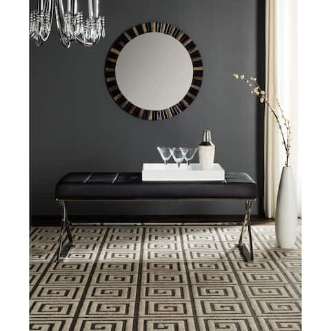"Safavieh Modern Glam Micha Tufted Black Bench - 43.2"" x 18"" x 18.1"""