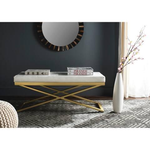 "SAFAVIEH Modern Glam Acra White/ Faux Crocodile Print Bench - 43.2"" x 18"" x 18"""