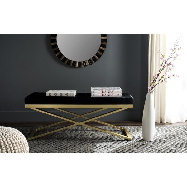 af942163cf36a Shop Safavieh Acra Black/ Gold Bench - On Sale - Free Shipping Today ...