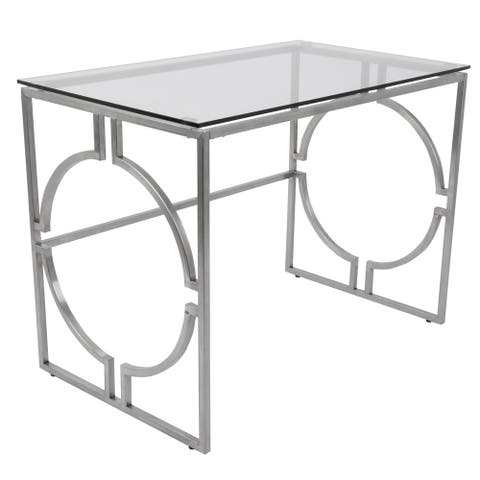 Dynasty Contemporary Desk in Brushed Stainless Steel and Clear Glass