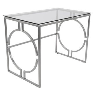 Dynasty Contemporary Desk in Brushed Stainless Steel + Clear Glass