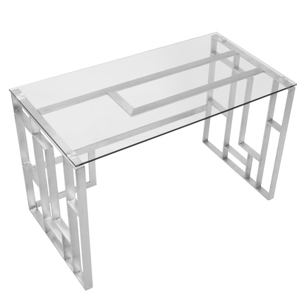 Mandarin Contemporary Desk in Brushed Stainless Steel + Clear Glass. Opens flyout.