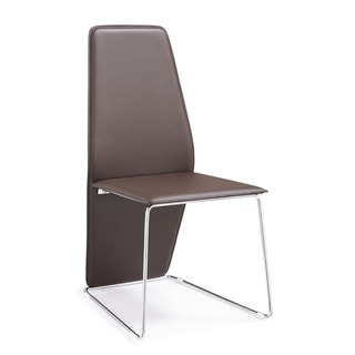 Logan Brown Leather and Chrome Dining Chair (Set of 2)