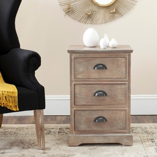 Safavieh Griffin Washed Natural Pine 3-Drawer Storage Side Table