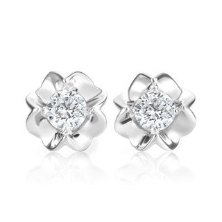 Andrew Charles 14k White Gold 1/2ct TDW Diamond Stud Earrings (H-I, SI2-I1)