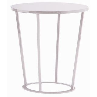 Massa High Gloss Lacquer Top White Wood and Lacquer and Metal and Iron End Table