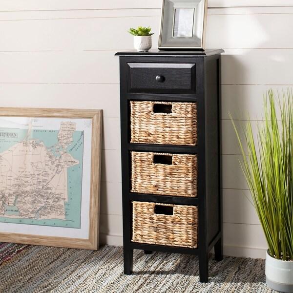 Safavieh Michaela Distressed Black 4 Drawer Storage Side Table