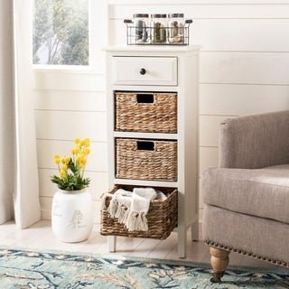 Safavieh Michaela Distressed White 4-Drawer Storage Side Table