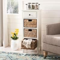 Safavieh Michaela Distressed White 4-Drawer Storage Side Table