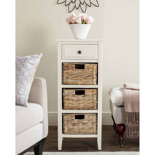 Attrayant Safavieh Michaela Distressed White 4 Drawer Storage Side Table