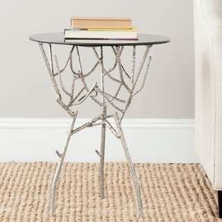Safavieh Tara Silver/ Black Glass Top Accent Table