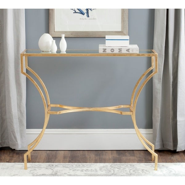 """Safavieh Alphonse Gold/ Tempered Glass Top Console - 40"""" x 20"""" x 35.5"""". Opens flyout."""