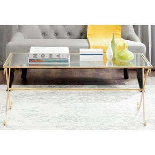 Safavieh Lavar Gold/ Tempered Glass Top Coffee Table