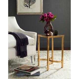Safavieh Halyn Antique Gold Leaf Mirror Top End Table