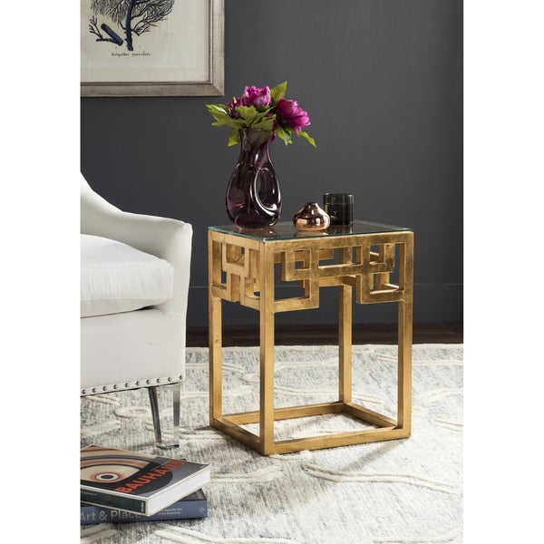 Shop Safavieh Byram Antique Gold Leaf End Table Free Shipping
