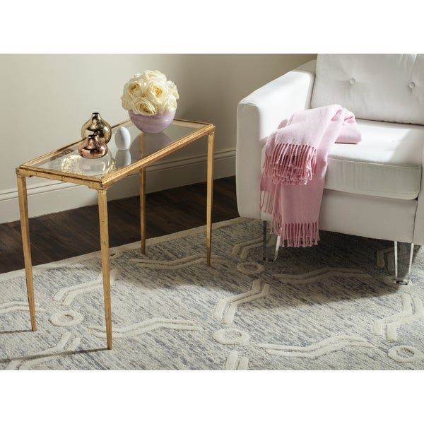 safavieh juliana antique gold leaf coffee table - free shipping