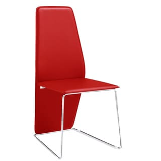 Logan Red Chair Red Leather and Chrome Dining Chair (Set of 2)
