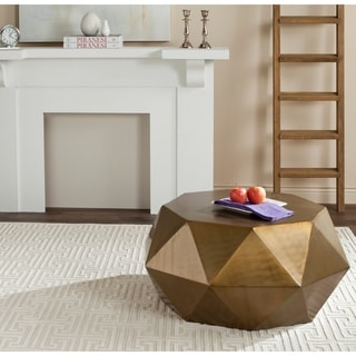 Safavieh Astrid Copper Faceted Drum Coffee Table