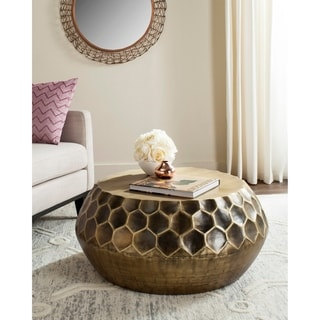 "Link to Safavieh Roxanna Antique Brass Coffee Table - 33"" x 33"" x 13.8"" Similar Items in Living Room Furniture"