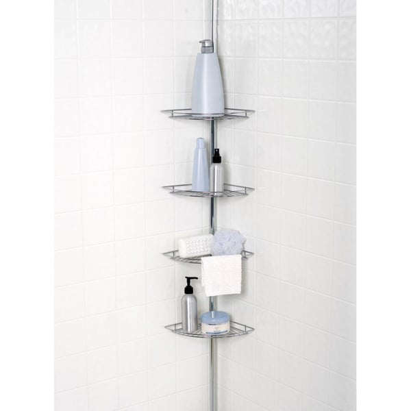 shop chrome plated 4 tier tension pole corner shower caddy on sale free shipping today. Black Bedroom Furniture Sets. Home Design Ideas