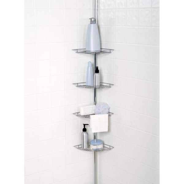 Chrome Plated 4 Tier Tension Pole Corner Shower Caddy