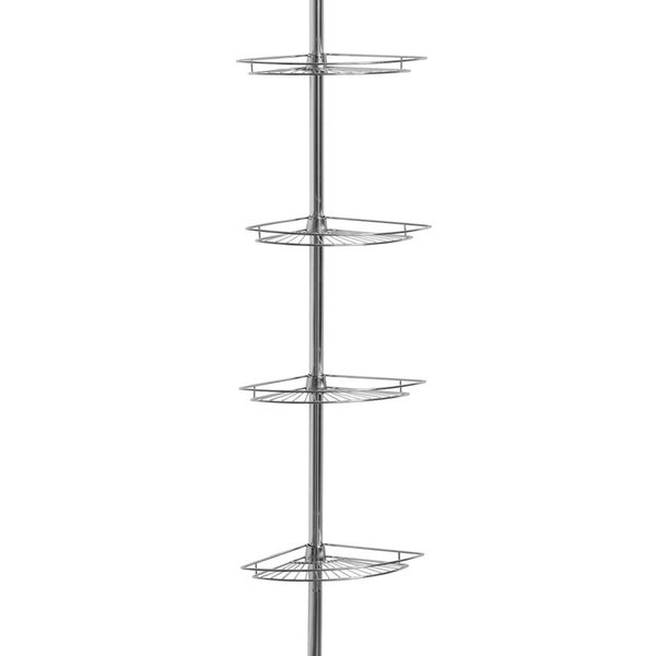 Shop Chrome-plated 4-tier Tension Pole Corner Shower Caddy - On Sale ...