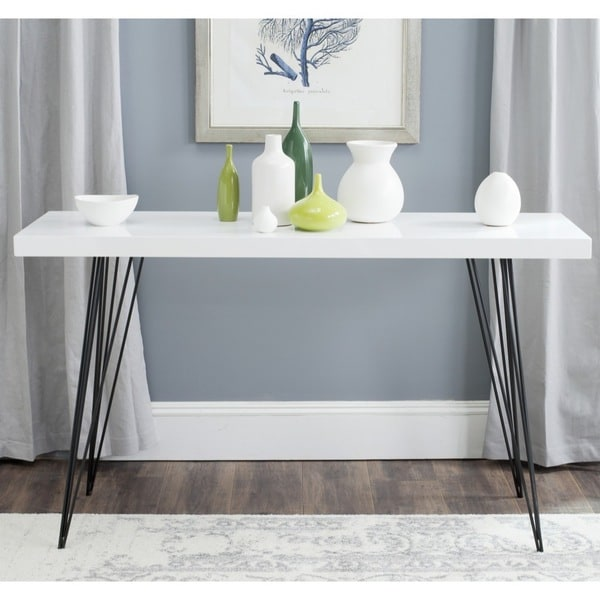 Safavieh Wolcott White Black Lacquer Console Table
