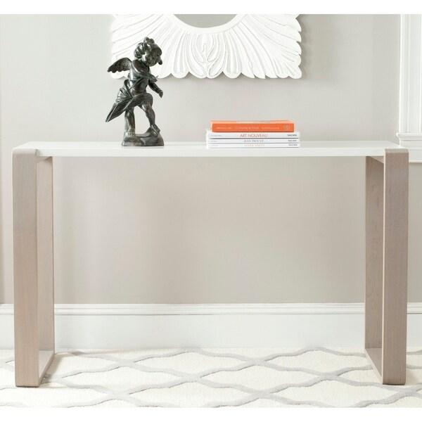 "Safavieh Modern Bartholomew White/ Grey Lacquer Console Table - 51"" x 17.6"" x 31.5"""