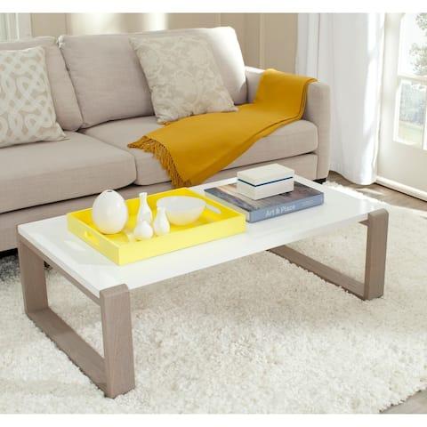 "Safavieh Mid-Century Modern Bartholomew White/ Grey Lacquer Coffee Table - 43.3"" x 25.6"" x 13.8"""