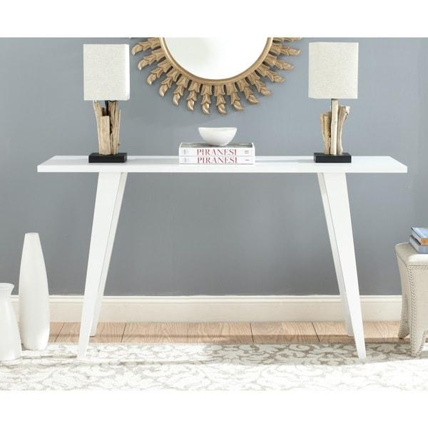 Safavieh mid century manny white lacquer modern console for Modern white lacquer console table