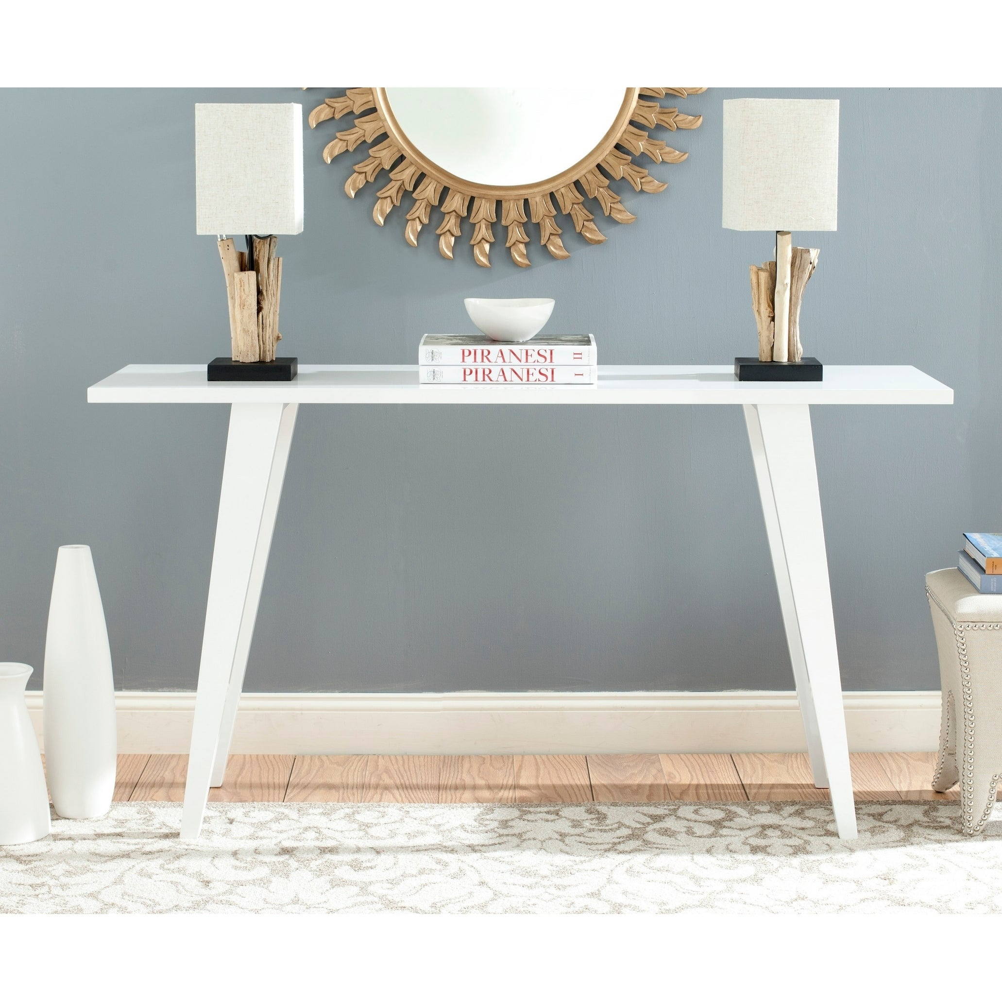 Image of: Shop Black Friday Deals On Safavieh Mid Century Manny White Lacquer Modern Console Table 59 X 17 6 X 32 3 Overstock 11408319