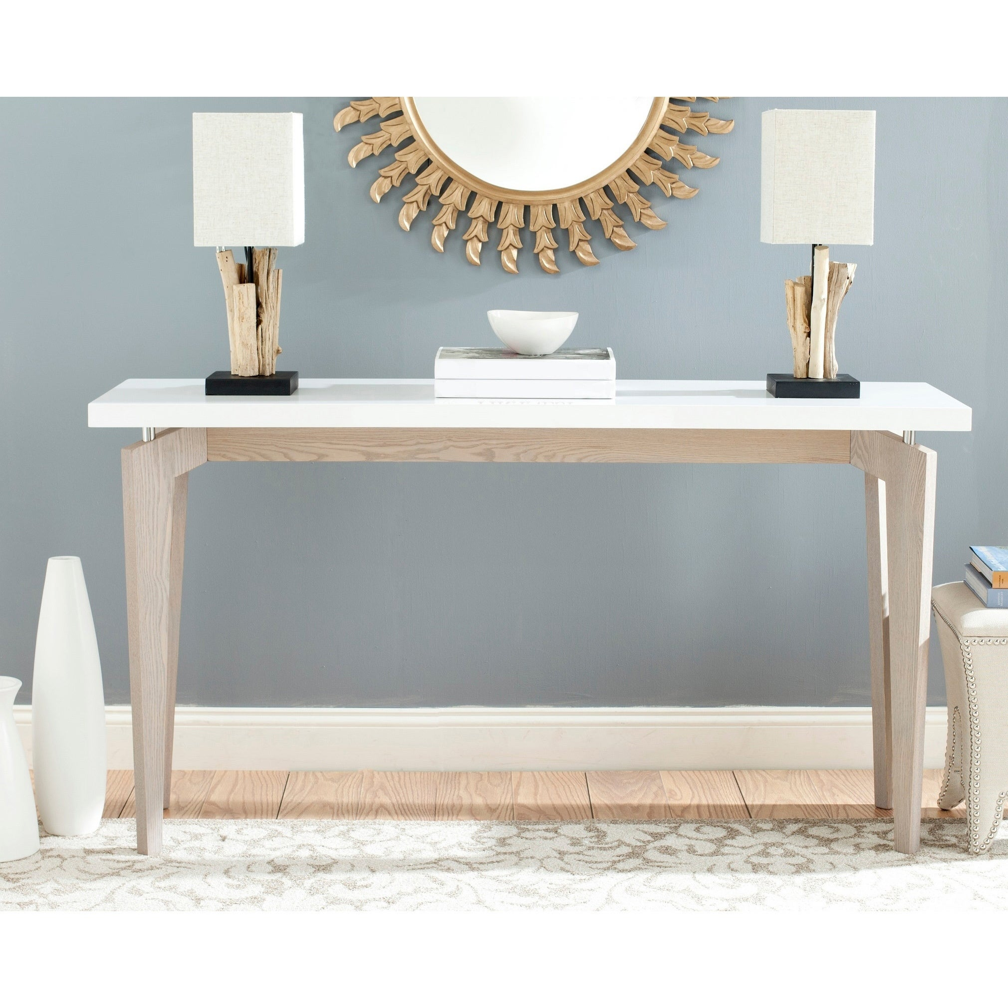 Safavieh Josef White Grey Lacquer Console Table 59 X 17 6 X 31 5 On Sale Overstock 11408330