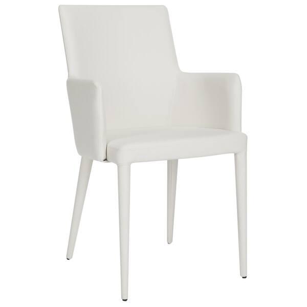 Astonishing Safavieh Mid Century Dining Summerset Modern White Arm Chair Machost Co Dining Chair Design Ideas Machostcouk