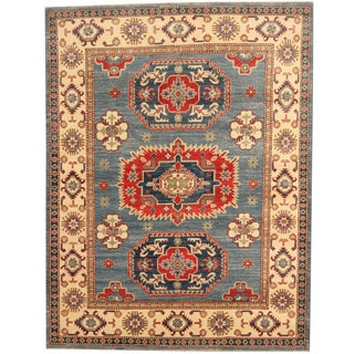 Herat Oriental Afghan Hand-knotted Tribal Kazak Blue/ Ivory Wool Rug (5' x 6'8)