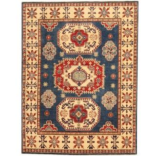 Herat Oriental Afghan Hand-knotted Tribal Kazak Navy/ Ivory Wool Rug (5'2 x 6'9)