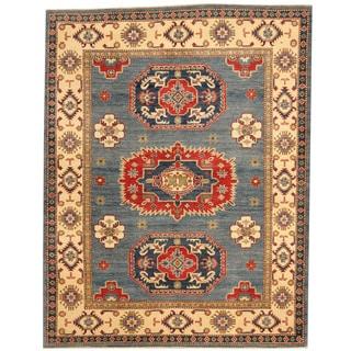 Herat Oriental Afghan Hand-knotted Tribal Kazak Blue/ Ivory Wool Rug (5'8 x 7'3)