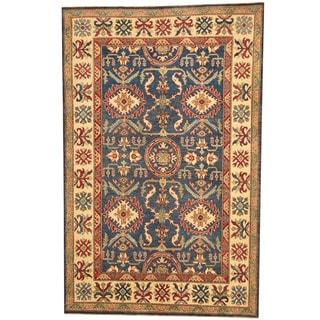 Herat Oriental Afghan Hand-knotted Tribal Kazak Navy/ Ivory Wool Rug (5'10 x 9'2)