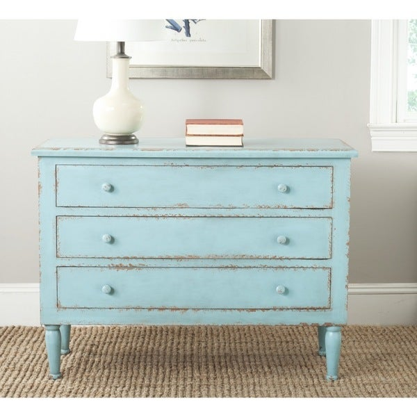 Safavieh Talbet Distressed Blue 3 Drawer Storage Chest