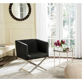 Safavieh Glam Celine Black/ Chrome Cross Leg Club Chair