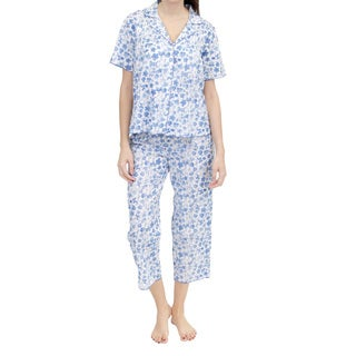 La Cera Women's Short Sleeve Pleated Front PJ Set