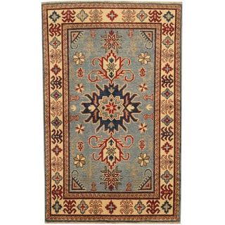 Herat Oriental Afghan Hand-knotted Tribal Kazak Blue/ Ivory Wool Rug (3'4 x 5'4)