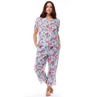 La Cera Women's Short Sleeve Ribbon Print PJ Set
