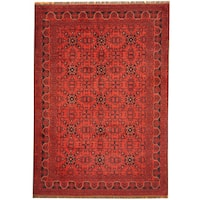 Herat Oriental Afghan Hand-knotted Khal Mohammadi Wool Rug (6'8 x 9'6)