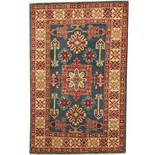 Herat Oriental Afghan Hand-knotted Tribal Kazak Blue/ Ivory Wool Rug (3'3 x 5'1)