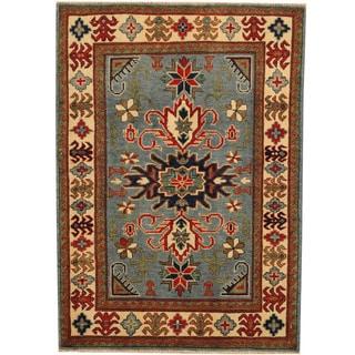 Herat Oriental Afghan Hand-knotted Tribal Kazak Blue/ Ivory Wool Rug (3'4 x 5'9)
