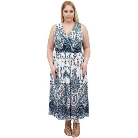 La Cera Women's Plus Size Sleeveless Printed Long Dress