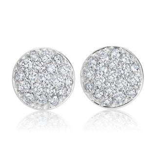 Andrew Charles 14k White Gold 1 1/6ct TDW Pave Diamond Dome Earrings (H-I, SI2-I1)