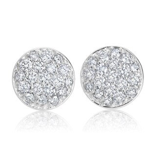 SummerRose 14k White Gold 1 1/6ct TDW Pave Diamond Dome Earrings - White H-I